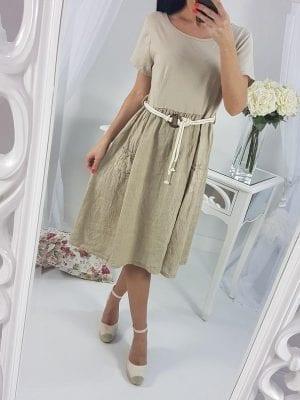 Elegantné ľanové šaty (letné+opasok)